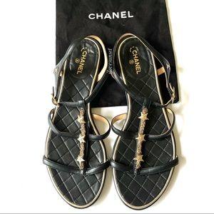{CHANEL} Gold Stars Black Flat Sandals 39.5EUR